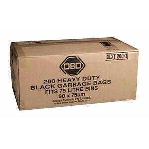 """""""OSO"""" Bin Liner Heavy Duty 70-77L Black 50um"""
