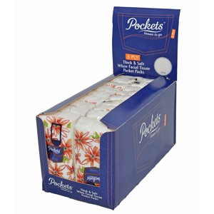 """Pockets"" 3 ply Facial Tissue Display Box"