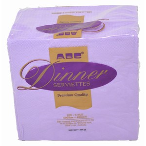 """ABC"" Premium 3ply Dinner Serviette Lilac"