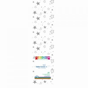 Plastic Sliver Stars Tablecloth 30m roll