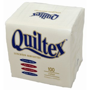 """Quiltex"" 2ply White Lunch Serviettes"